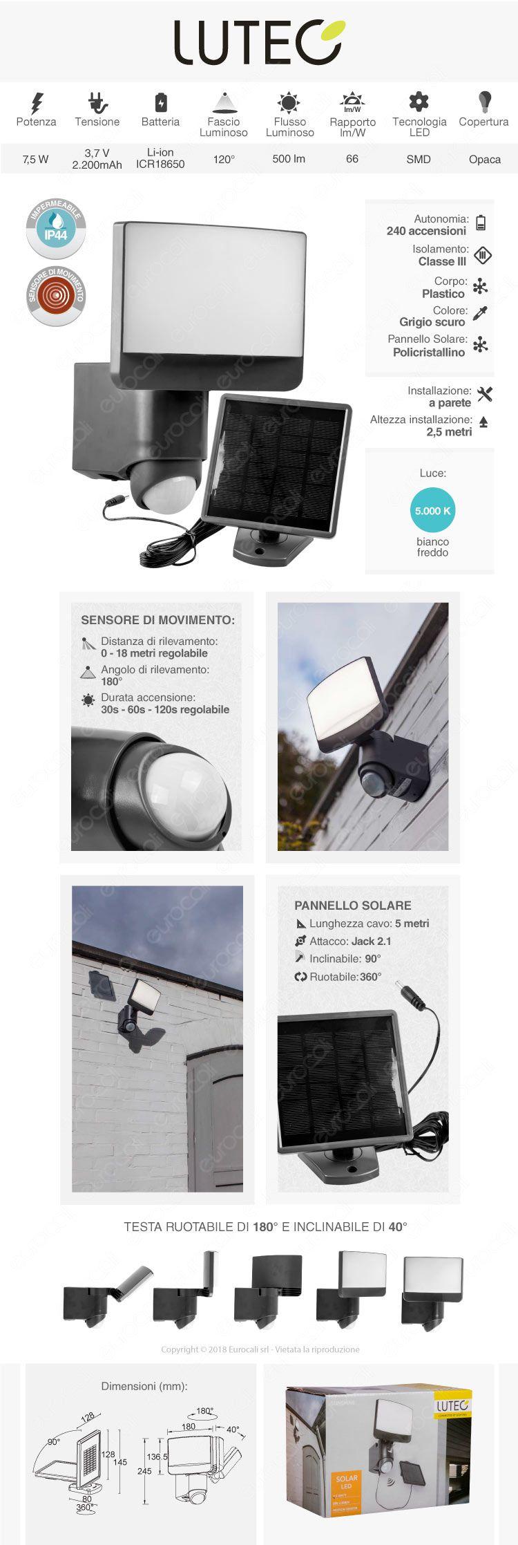 faretto LED lutec a carica solare
