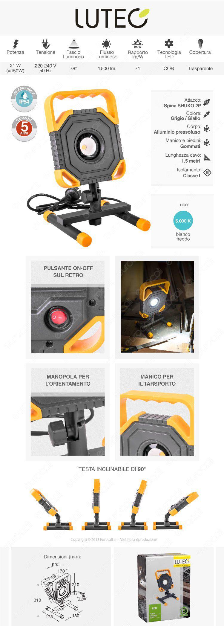 Lutec Faretto da Esterno Proiettore LED