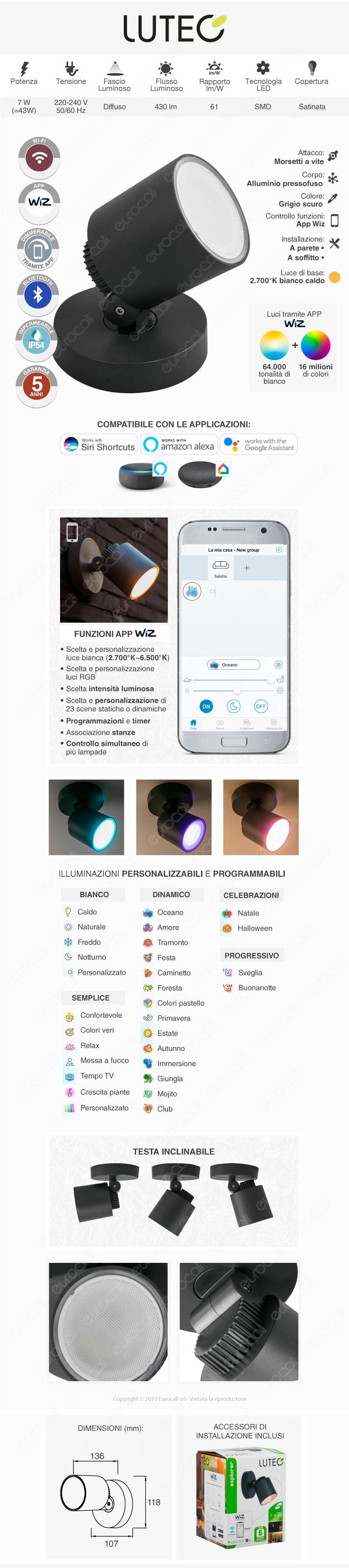 Lampada LED da Muro Inclinabile Lutec Explorer 7W RGB+W 3in1 WiFi IP54