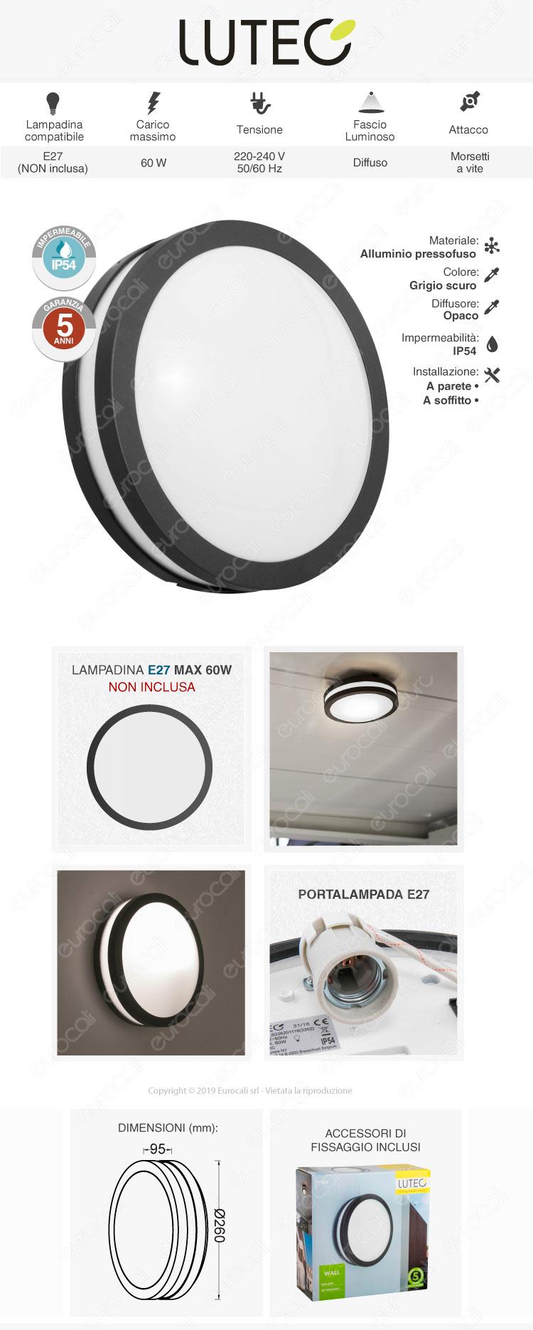 Lutec Titan Portalampada da Giardino Wall Light da Muro per Lampadine E27