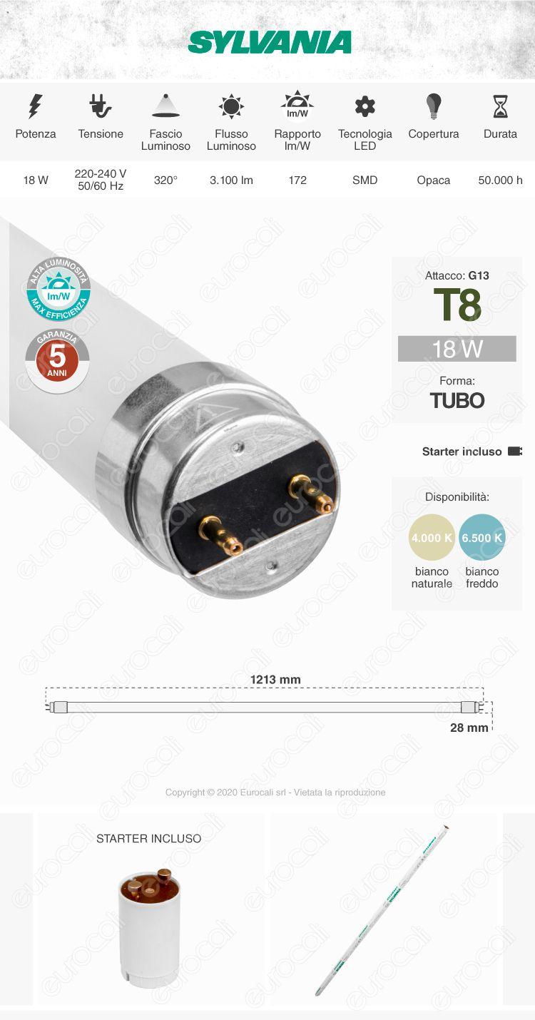 Sylvania Superia Tubo LED T8 G13 20W Lampadina 120cm