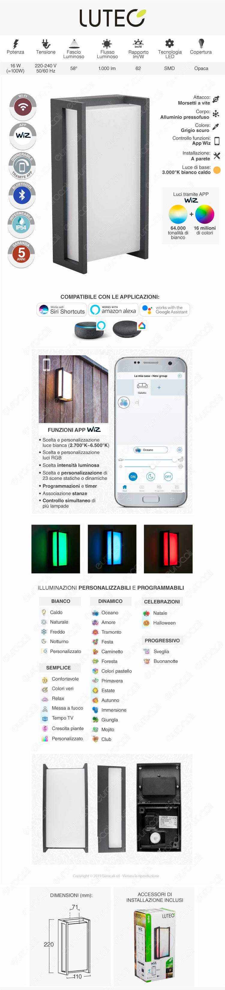 Lutec Qubo Lampada LED da Muro 16W RGB+W 3in1 WiFi IP54