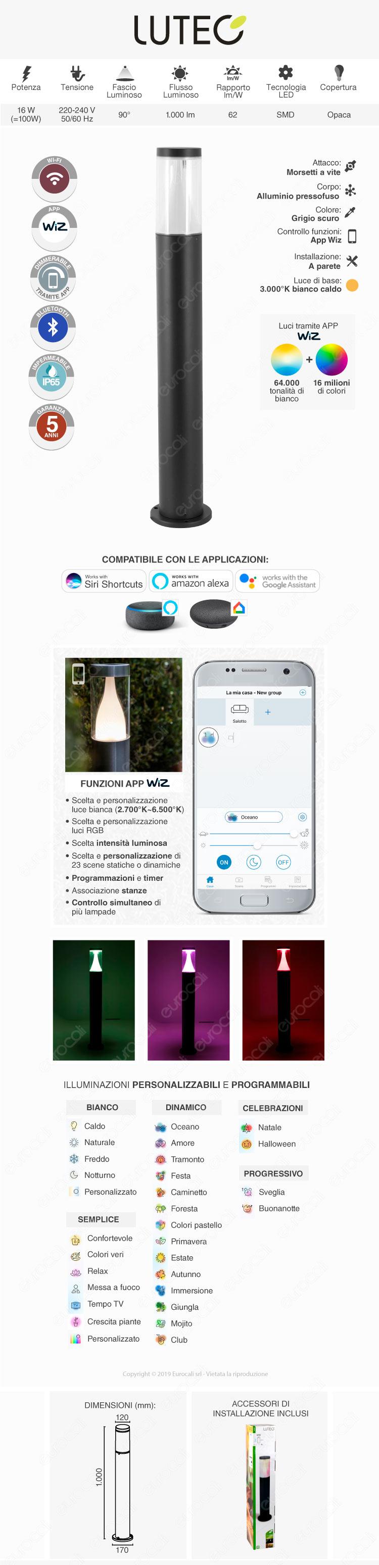 Lutec Spica Lampada LED da Terra 16W RGB+W 3in1 WiFi IP65