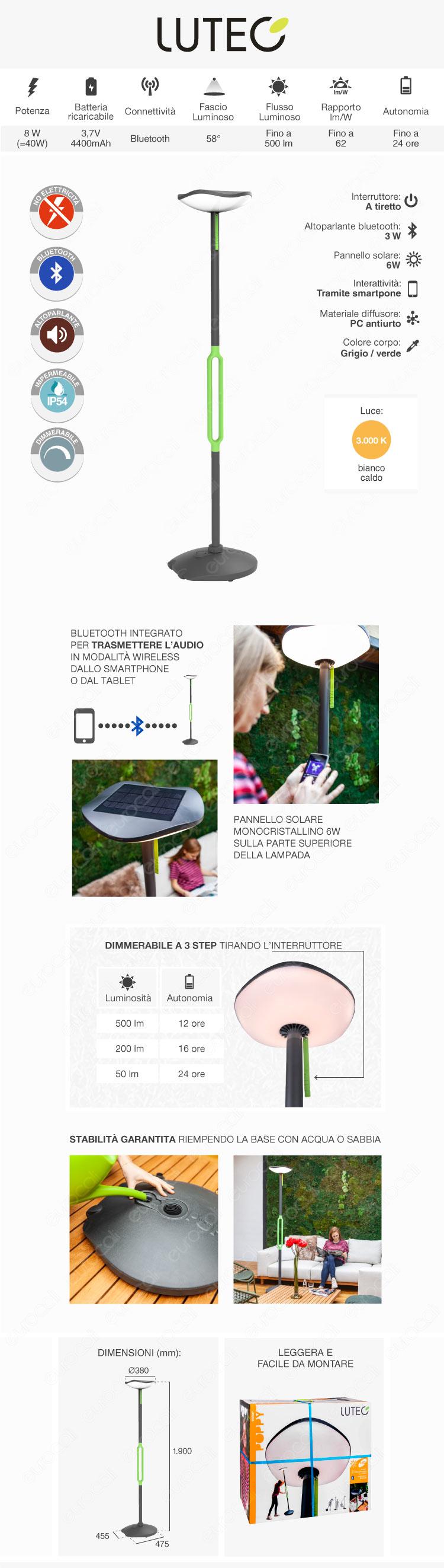 Lutec Poppy Lampada LED da Terra 8W con Pannello Solare e Speaker Bluetooth