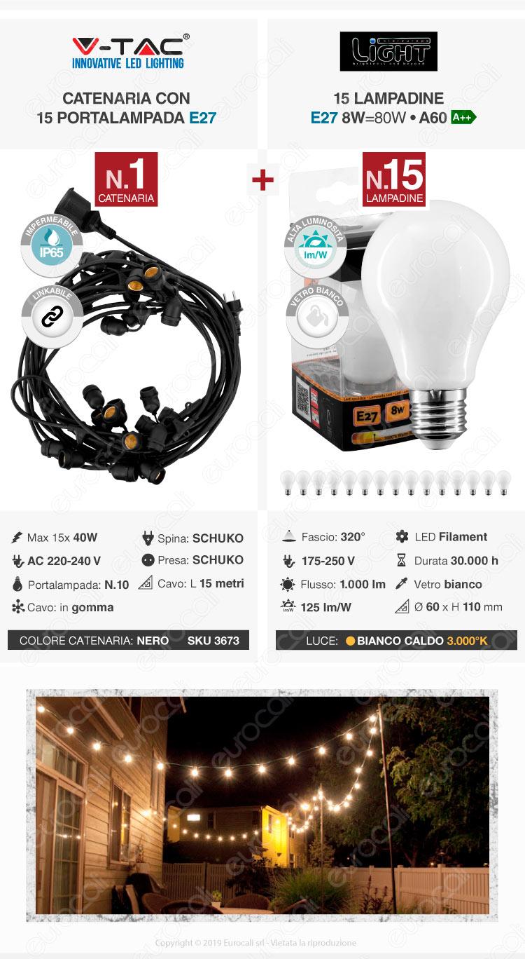 V-Tac Catenaria per Lampadine LED E27