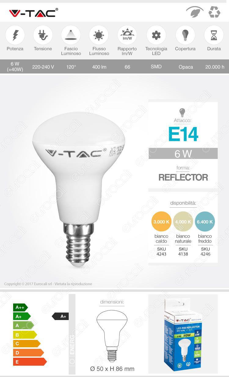 lampadina led v-tac reflector e14