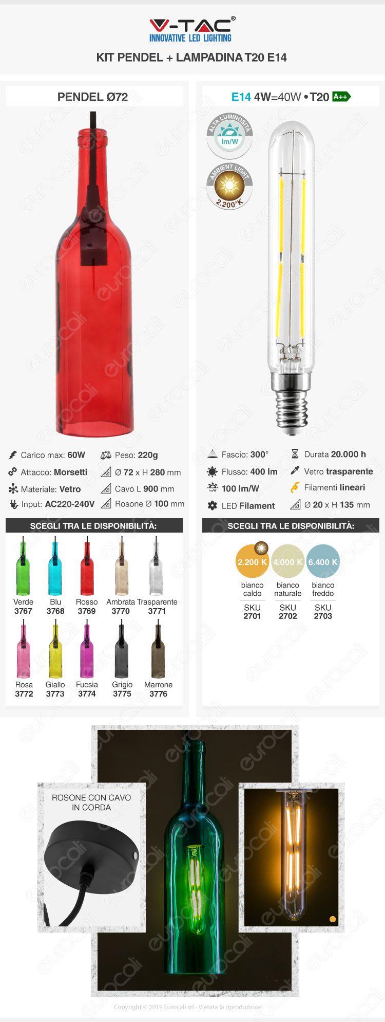 Lampadario in Vetro a Forma di Bottiglia V-Tac + Lampadina LED E14 4W Tubolare Filament