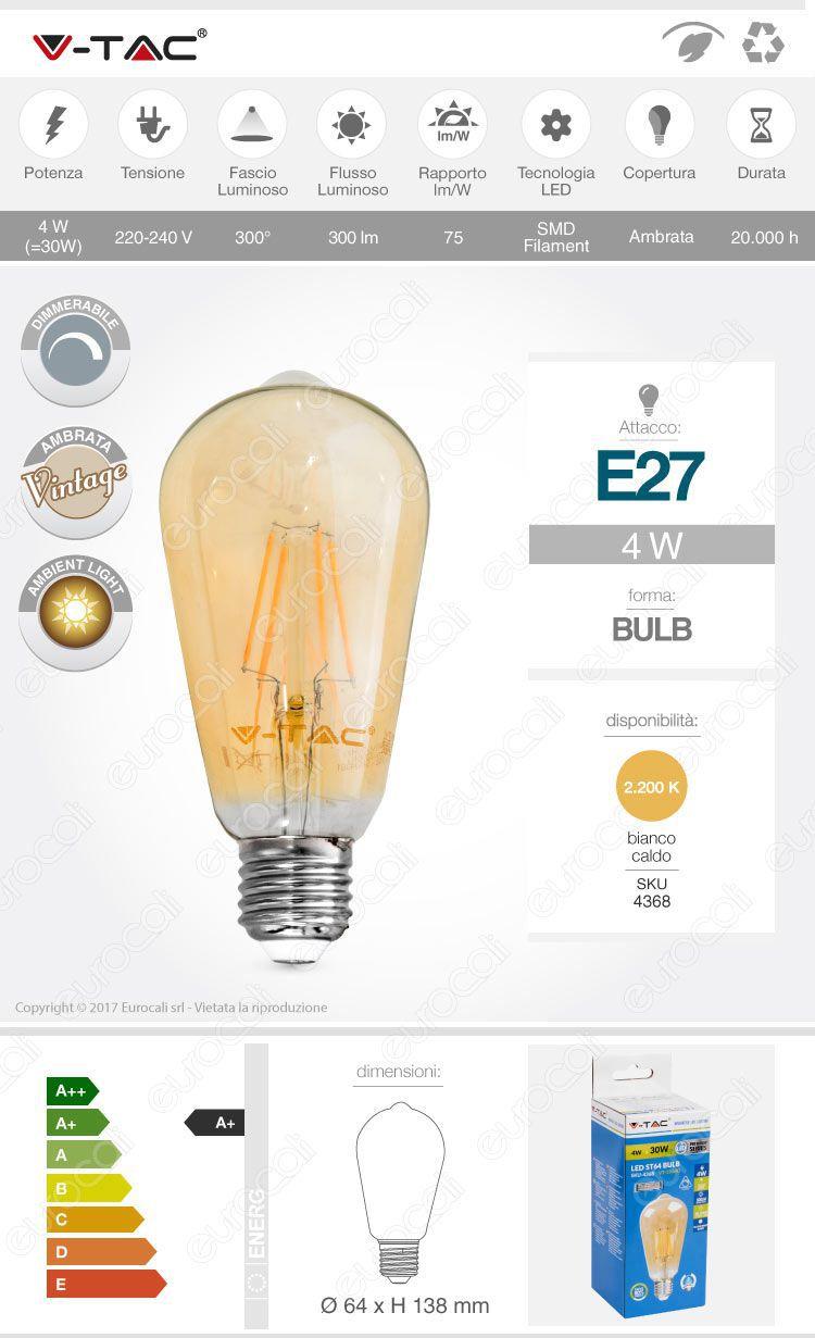 Lampadina LED E27 Filament 4W ST64