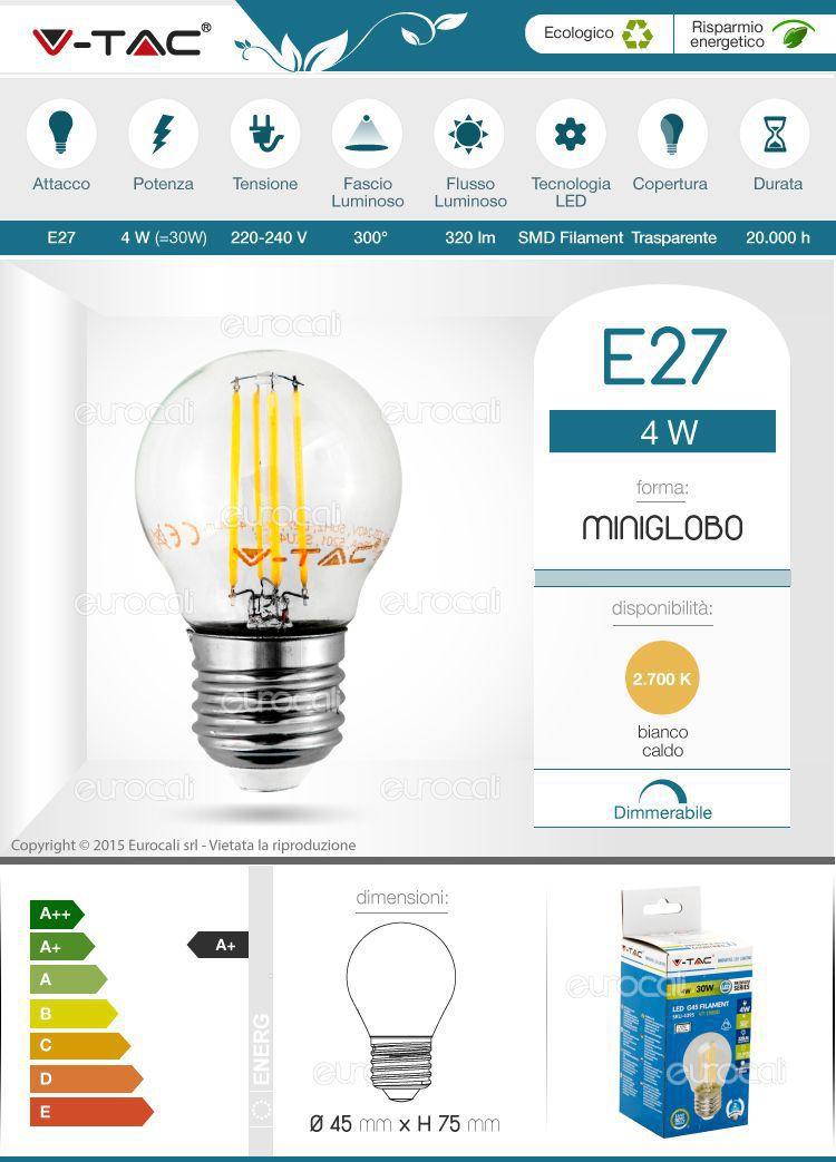 Lampadina LED Filamento E27 4W Miniglobo