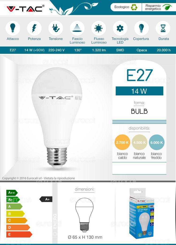 lampadina led v-tac e27 bulb a65
