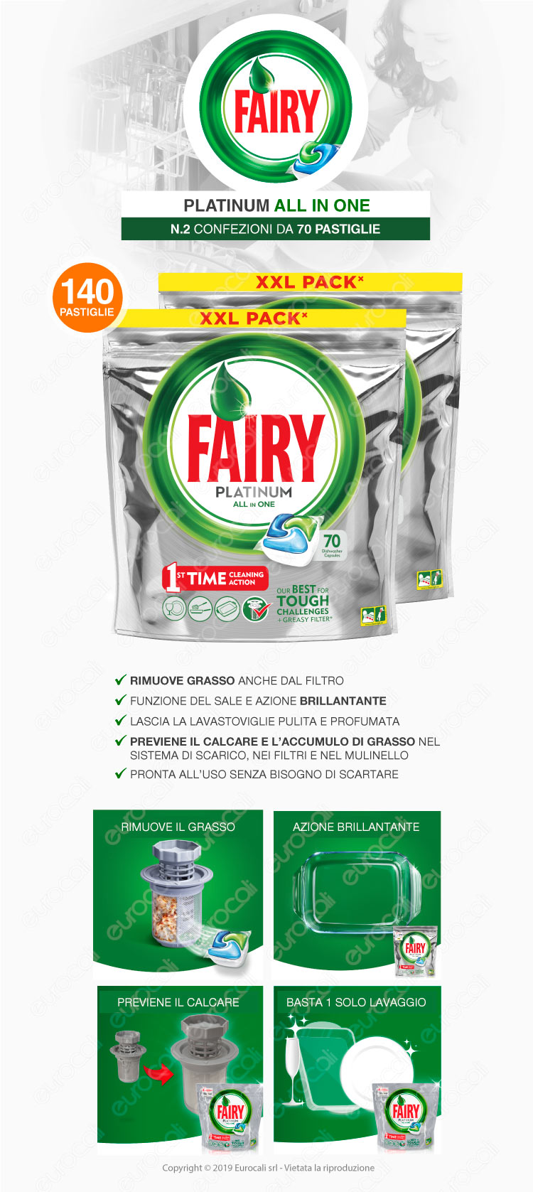 140 pastiglie fairy platinum tutto in uno detersivo per for Cucinare nella lavastoviglie