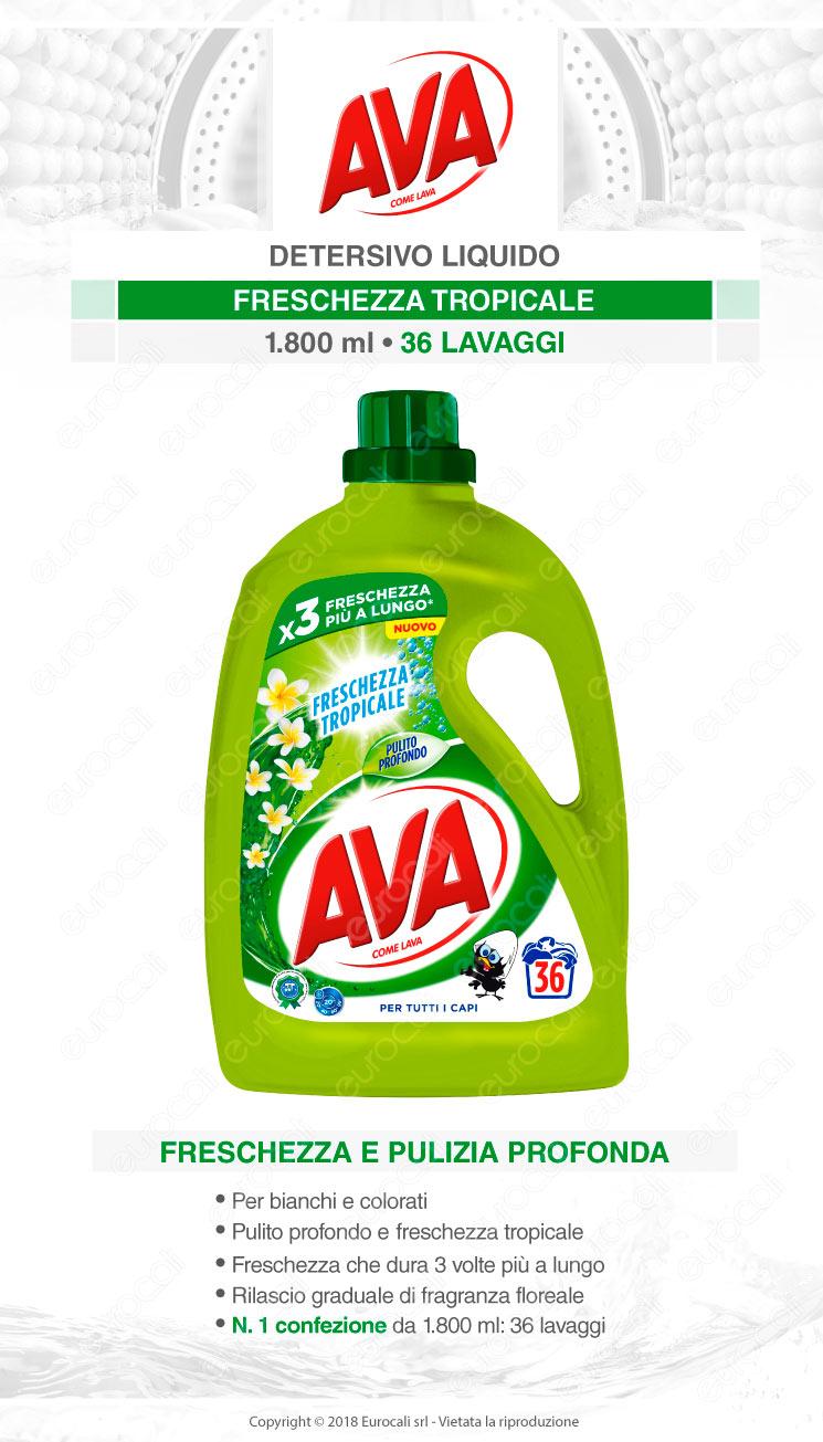 AVA Freschezza Tropicale Detersivo Liquido per Bucato in Lavatrice e a Mano - Flacone da 1800ml