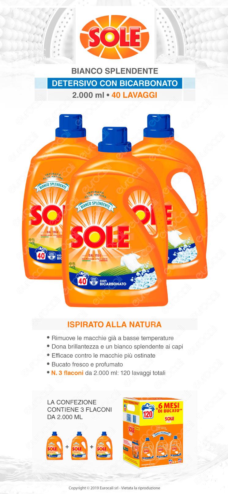 Kit Risparmio Sole Bianco Splendente Detersivo Liquido per Lavatrice - 3 flaconi da 2000ml
