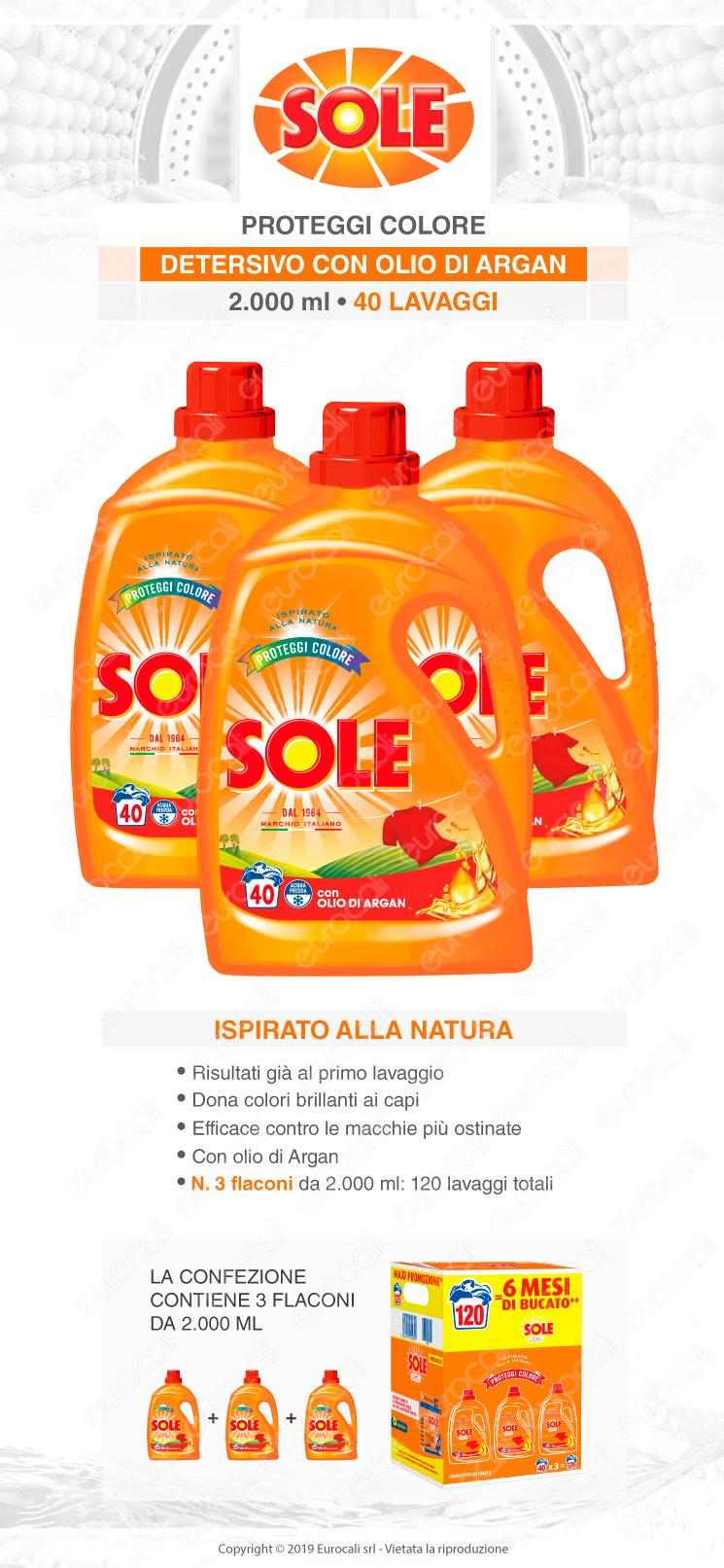 Kit Risparmio Sole Proteggi Colore Detersivo Liquido per Lavatrice - 3x2000ml