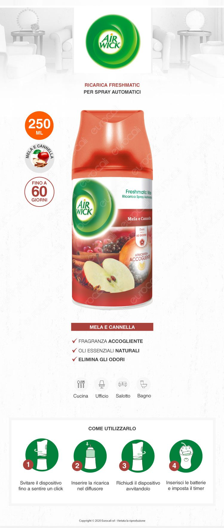 Air Wick Freshmatic Ricarica Spray Profumo Mela Cannella