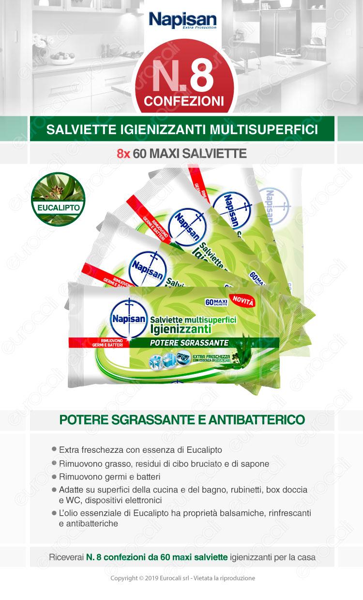 Kit Napisan Wipes Salviette Multisuperfici Igienizzanti Eucalipto - 8 Confezioni da 60 Salviette