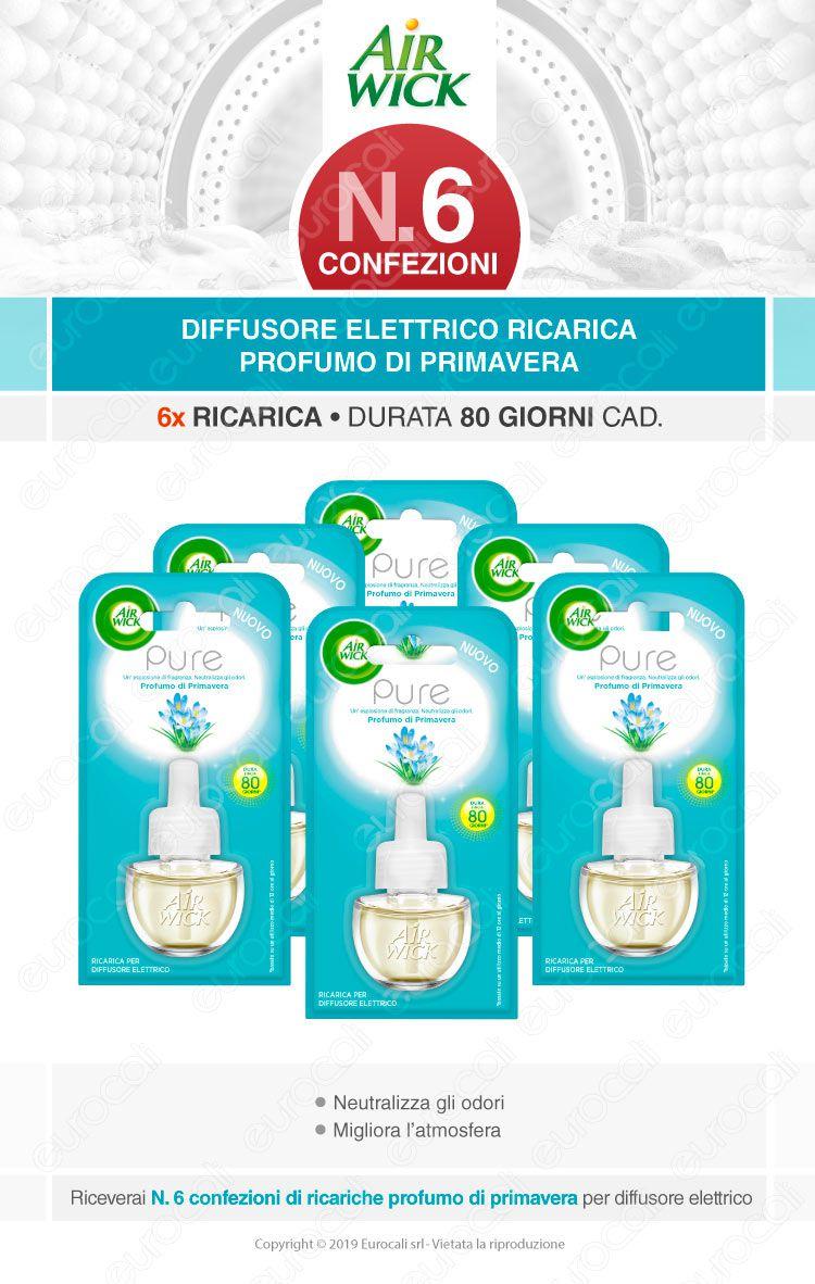 Kit Risparmio Air Wick Pure Profumo di Primavera - 6 Ricariche per Diffusore Elettrico da 19ml cad.