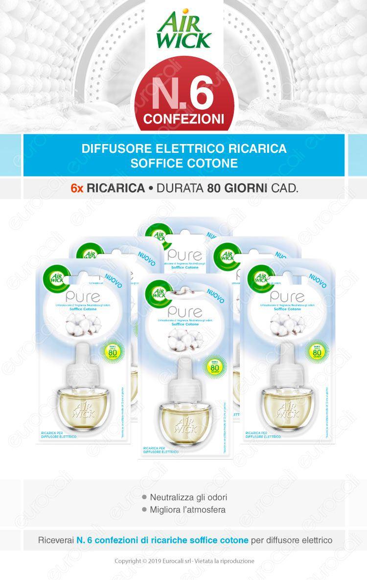 Kit Risparmio Air Wick Pure Soffice Cotone - 6 Ricariche per Diffusore Elettrico da 19ml cad.