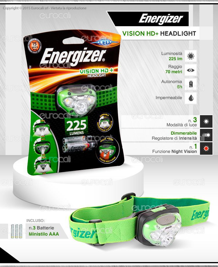Torcia Frontale Energize Vision HD + Headlight